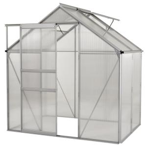 6 ft. x 4 ft. Ogrow Aluminium Greenhouse - Walk-In With Sliding Door And Double Roof Vent by Greenhouse Supplies