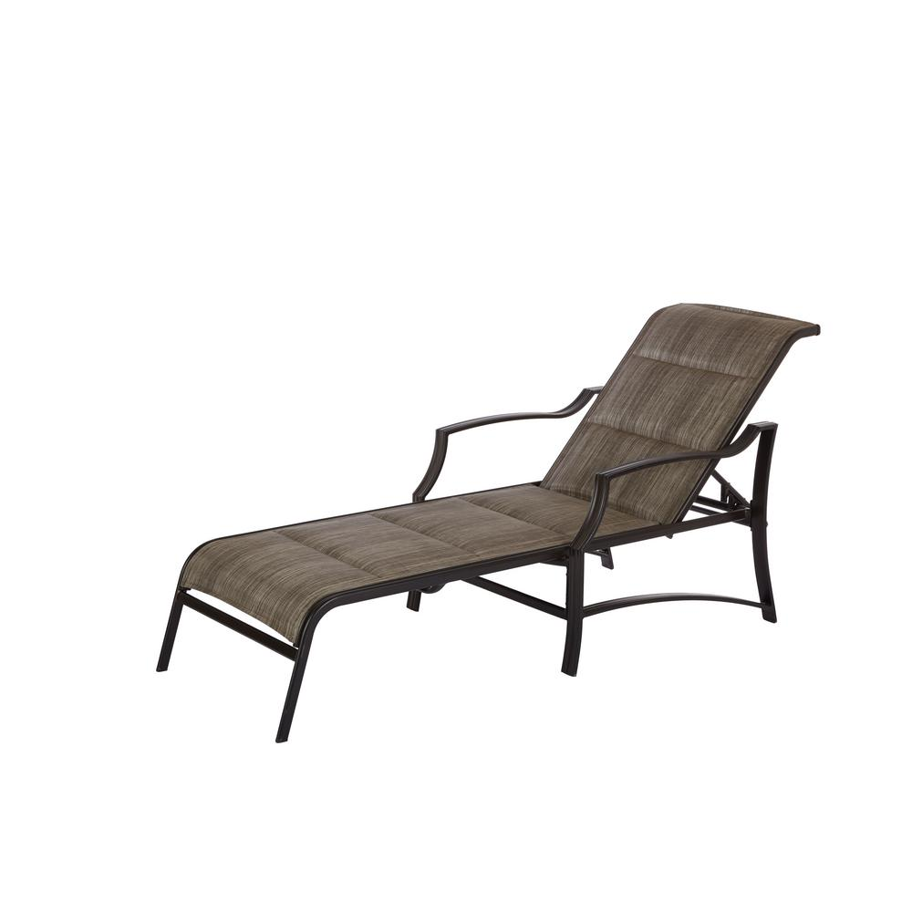 Hampton Bay Statesville Pewter Aluminum Outdoor Chaise Lo...
