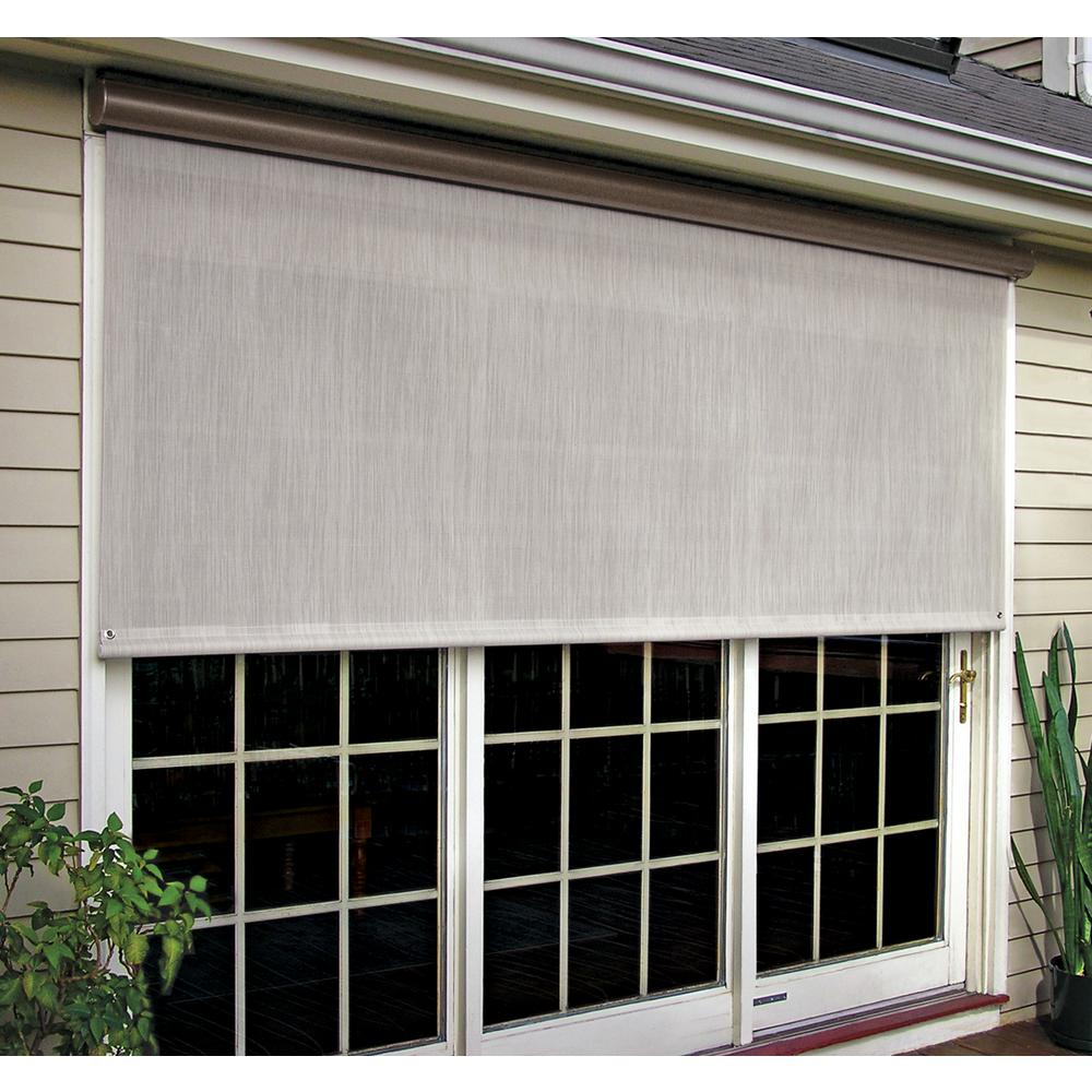 Coral White Vinyl Exterior Solar Shade Left Motor with Full Bronze