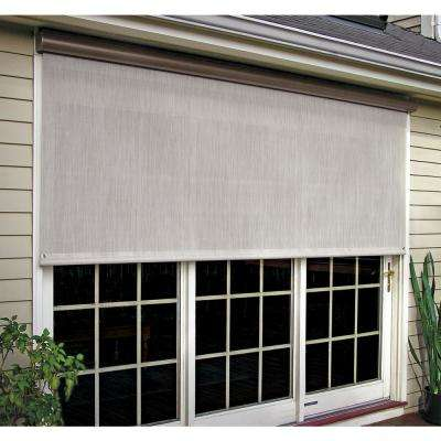 Coral White Corded Light Filtering Motorized Vinyl Exterior Solar Shade Left Motor Bronze Cassette 144 in. W x 84 in. L