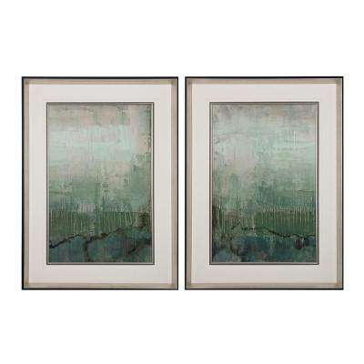 "32 in. x 24 in. ""Emerald Sky"" Framed Printed Fine Art Paper under Glass (Set of 2)"