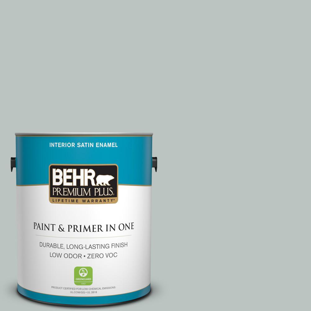 BEHR Premium Plus 1-gal. #ICC-47 Pewter Tray Zero VOC Satin Enamel Interior Paint