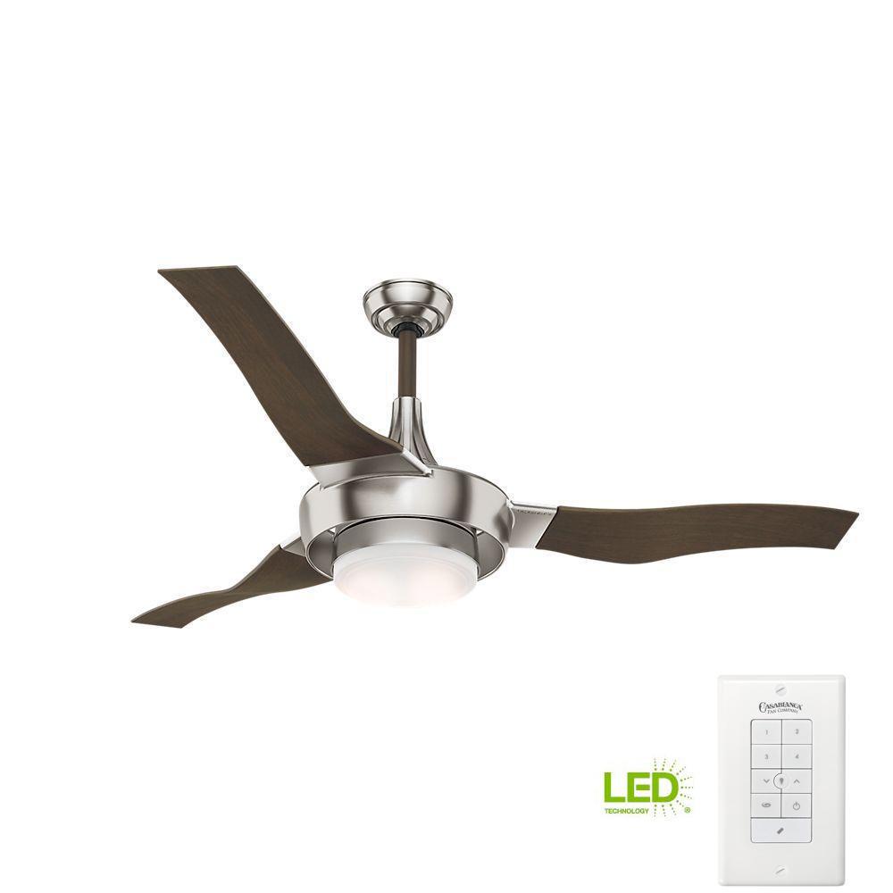 Perseus 64 in. LED Indoor/Outdoor Brushed Nickel Ceiling Fan