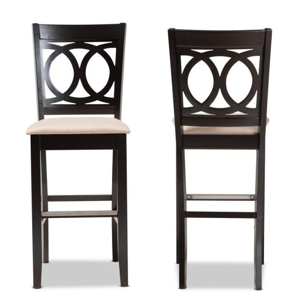 28.3 in. Carson Sand and Espresso Brown Bar Stool (Set of 2)