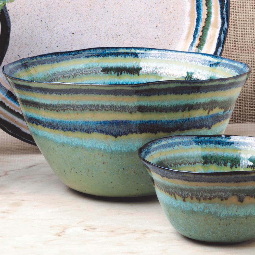 Sausalito 10.5 in. 96 fl. oz. Green Ceramic Stoneware Serving Bowl
