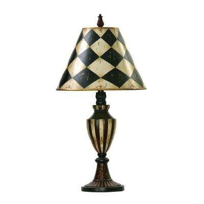 29 in. Brown Harlequin And Stripe Urn Lamp