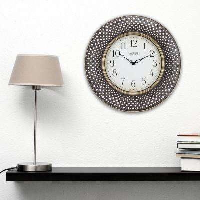 16 in. Antiqued Brown Lattice Round Analog Wall Clock