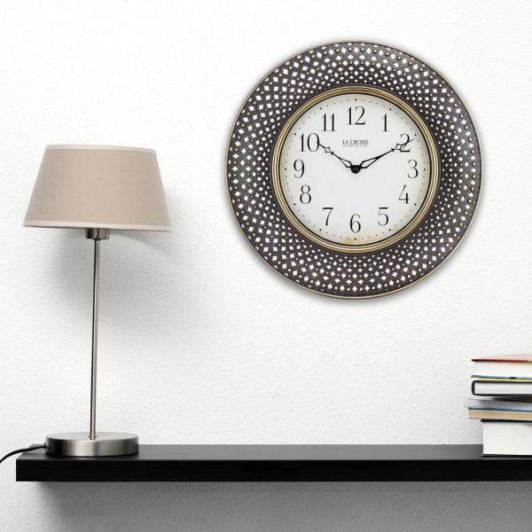 La Crosse Technology 16 in. Antiqued Brown Lattice Round Analog Wall