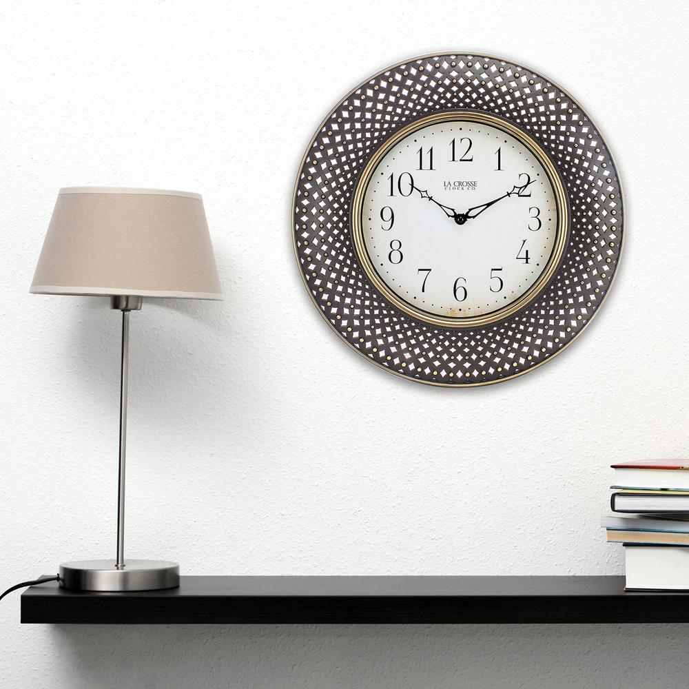 Yosemite home decor 16 in circular iron wall clock in distressed antiqued brown lattice round analog wall clock amipublicfo Gallery