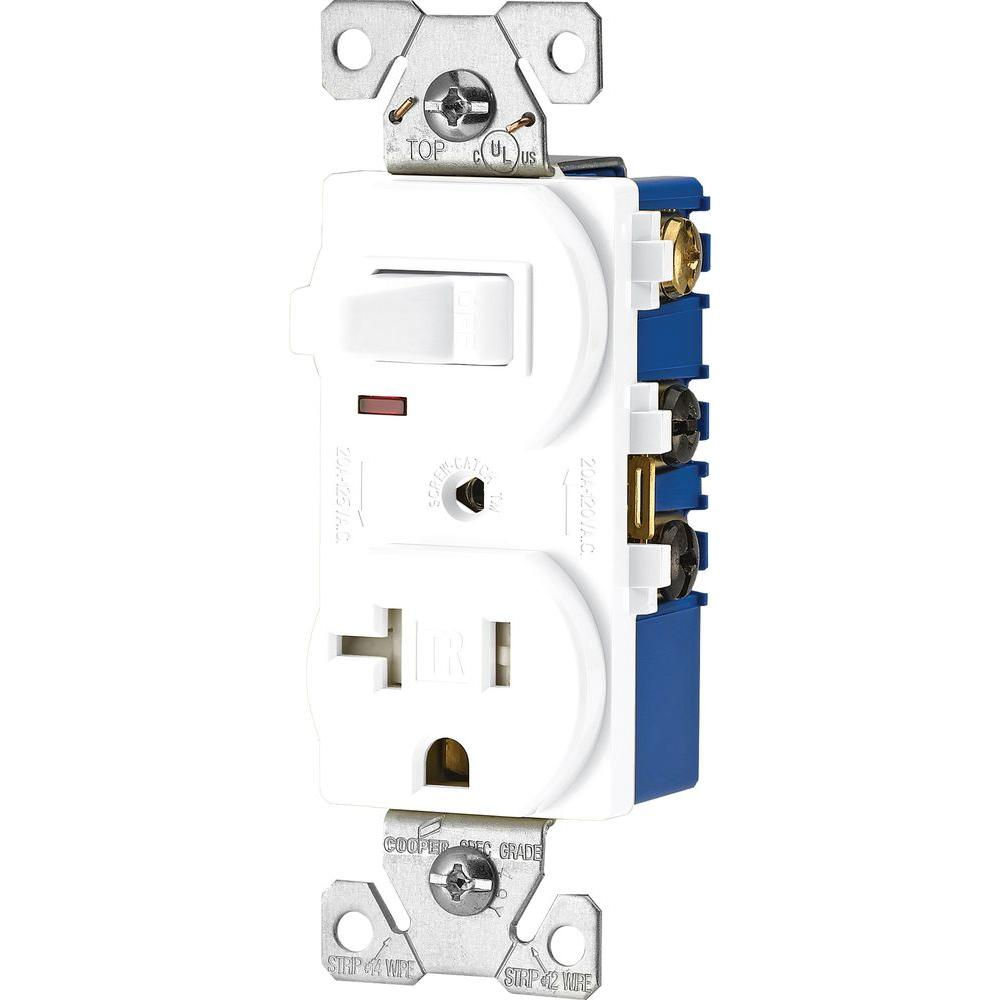 Eaton 15 Amp 120-volt 5-15 3-wire Combination Receptacle And Toggle Switch  White-tr291w