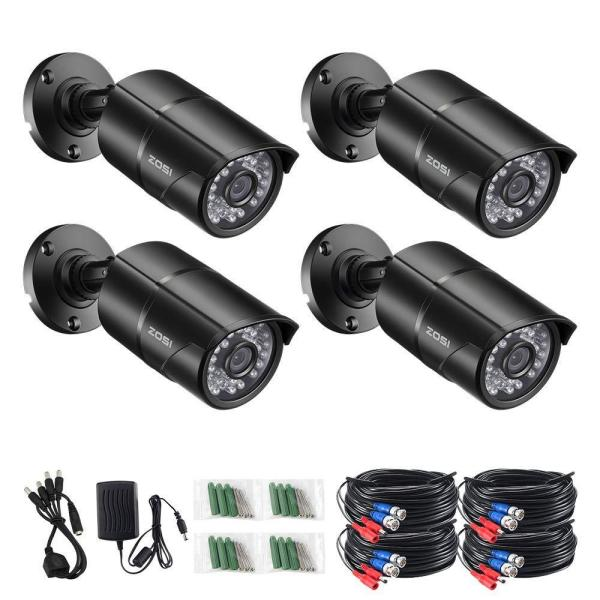 Wired 1080p Outdoor Bullet TVI Security Camera Compatible with TVI DVR, Black (4-Pack)