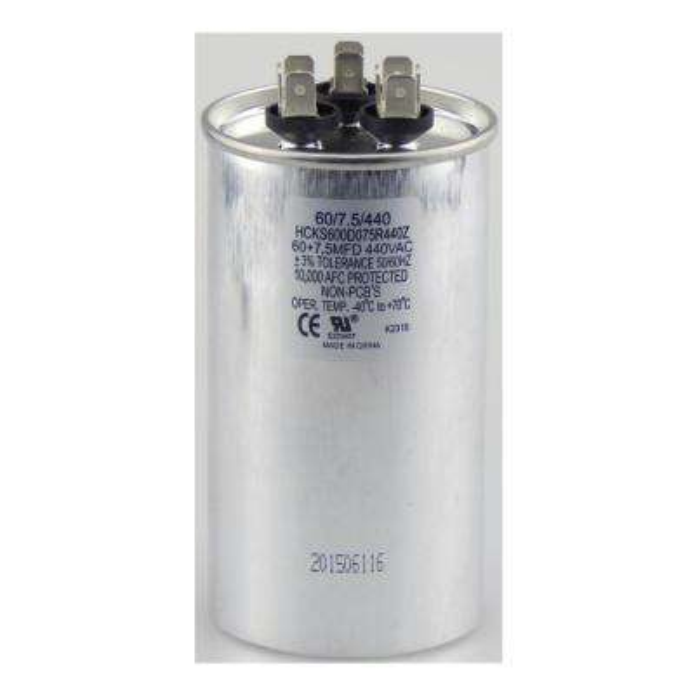 440-Volt 60/7.5 MFD Dual Rated Motor Run Round Capacitor