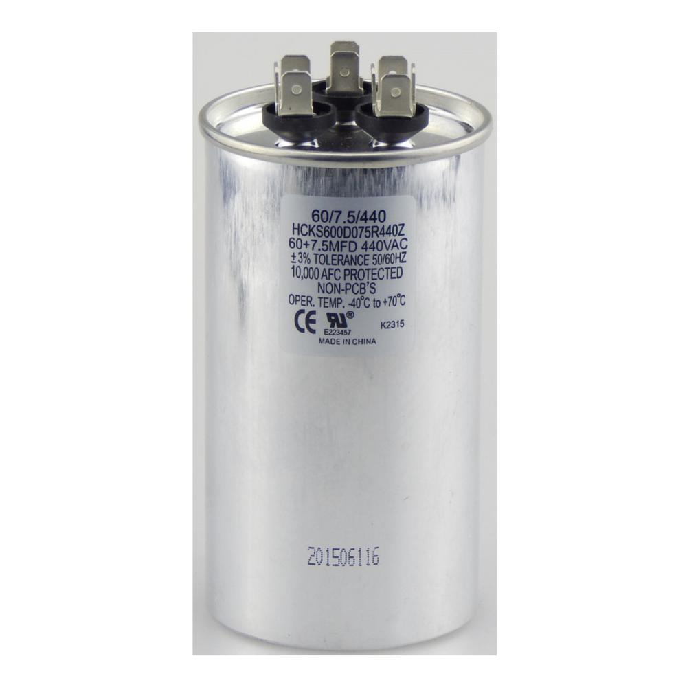440-Volt 60/7.5 MFD Dual Rated Motor Run Round Capacitor,...