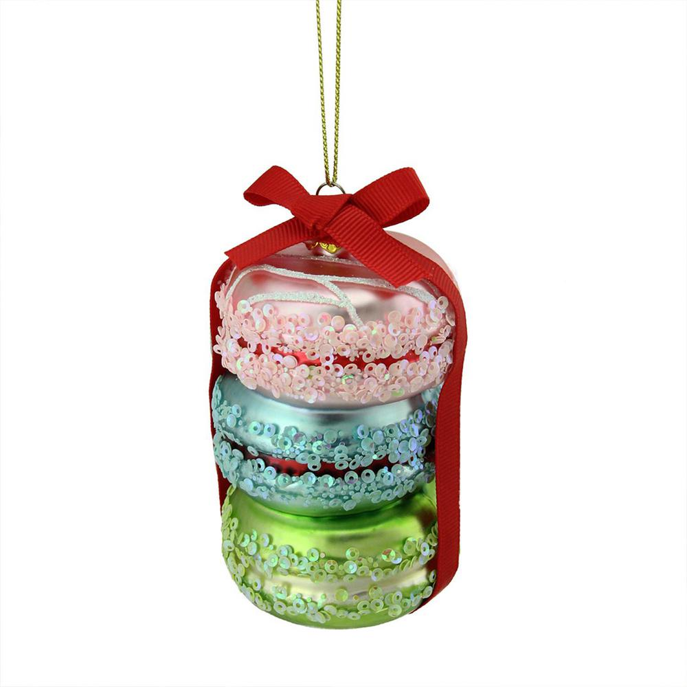 pink blue and lime green glass macaroon christmas ornament - Lime Green And Blue Christmas Decorations