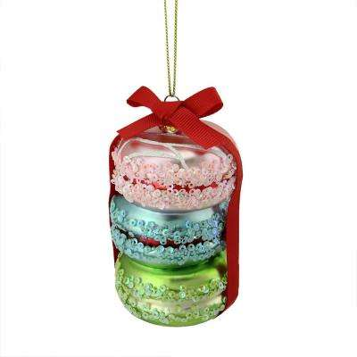 4.25 in. Pink, Blue and Lime Green Glass Macaroon Christmas Ornament