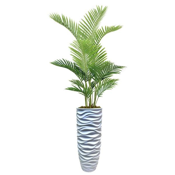 78 in. Real Touch Palm Tree in Fiberstone Planter