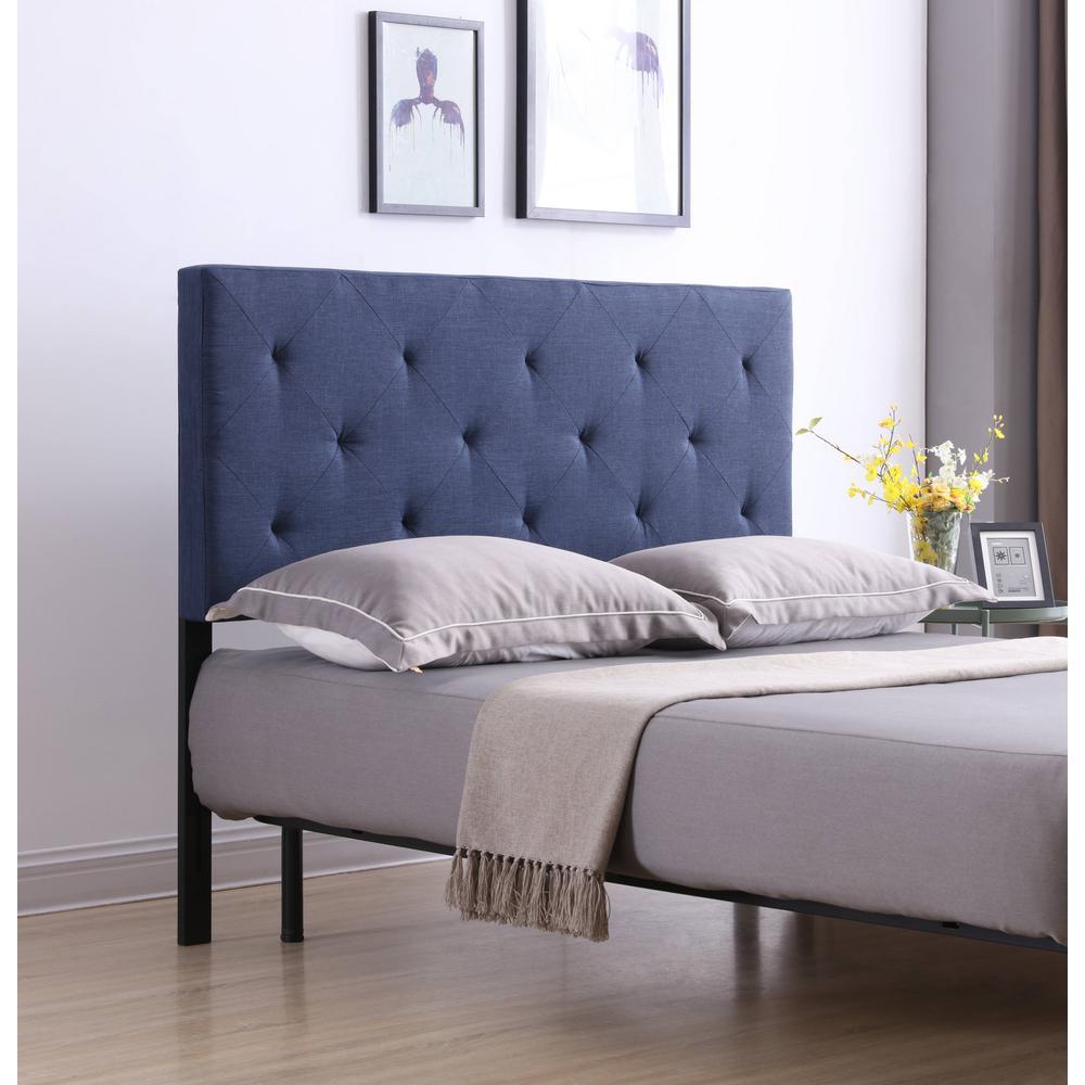 Blue King Upholstered Tufted Rectangular Headboard