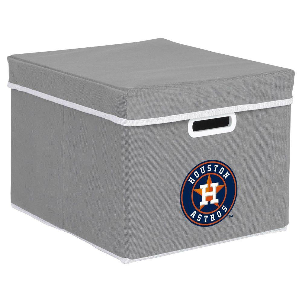 MyOwnersBox MLB STACKITS Houston Astros 12 in. x 10 in. x 15 in. Stackable Grey Fabric Storage Cube