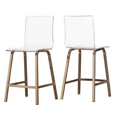 Penny 24 in. Champagne Brass Swivel Bar Stool (Set of 2)
