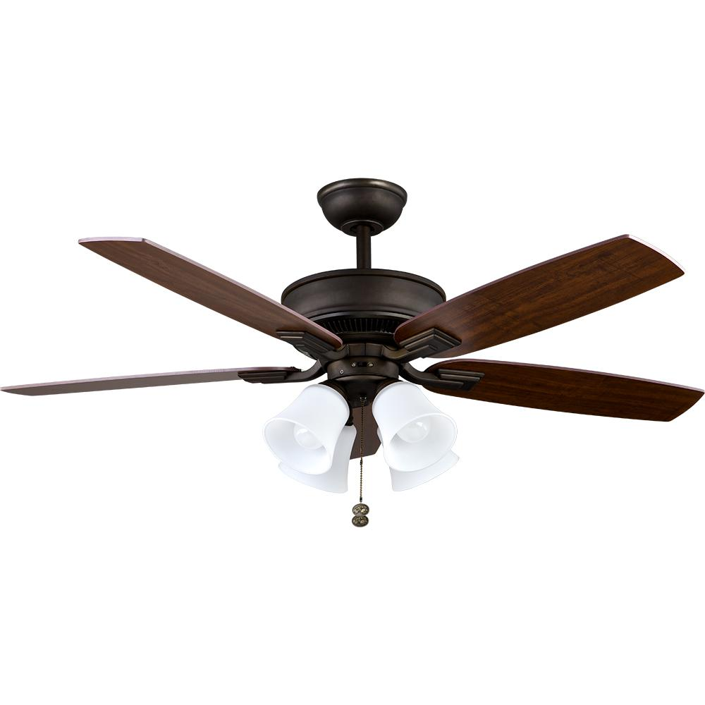 Devron 52 in. LED Indoor Oil-Rubbed Bronze Ceiling Fan with Light
