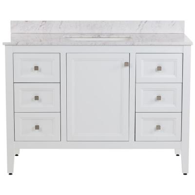 Darcy 49 in. W x 22 in. D Bath Vanity in White with Stone Effects Vanity Top in Lunar with White Sink
