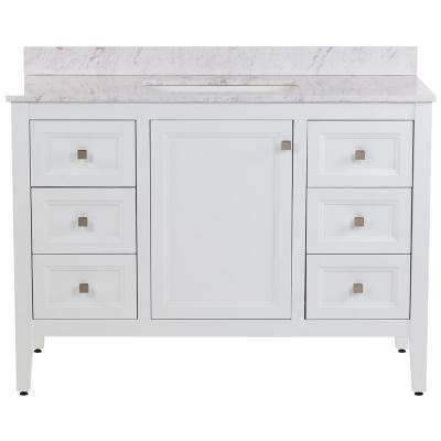 Darcy 49 in. W x 22 in. D Bath Vanity in White with Stone Effects Vanity Top in Lunar with White Basin