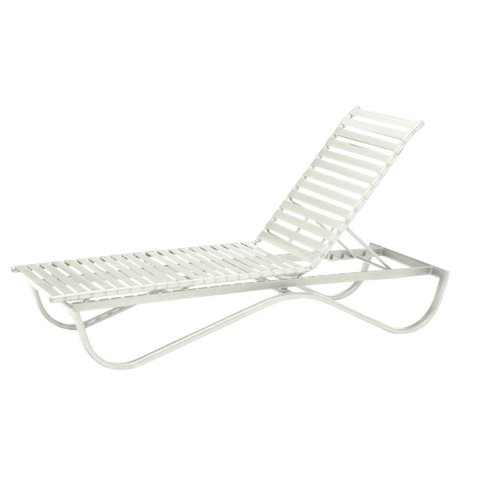 Tradewinds Scandia White Commercial Strap Stackable Patio Chaise Lounge