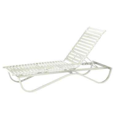 Scandia White Commercial Strap Stackable Patio Chaise Lounge