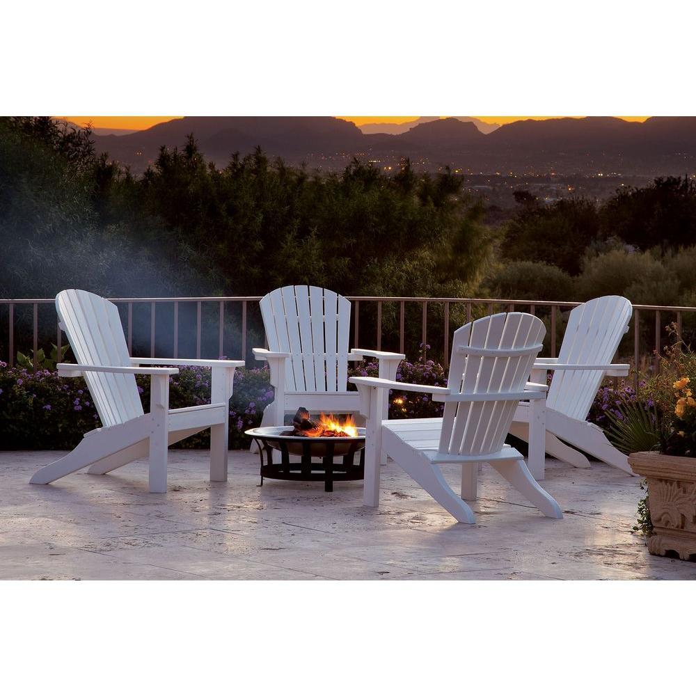 Ivy Terrace Classics White 4-Piece Shell Back Adirondack Patio Conversation Set