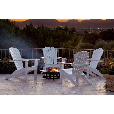 Classics White 4-Piece Shell Back Adirondack Patio Conversation Set