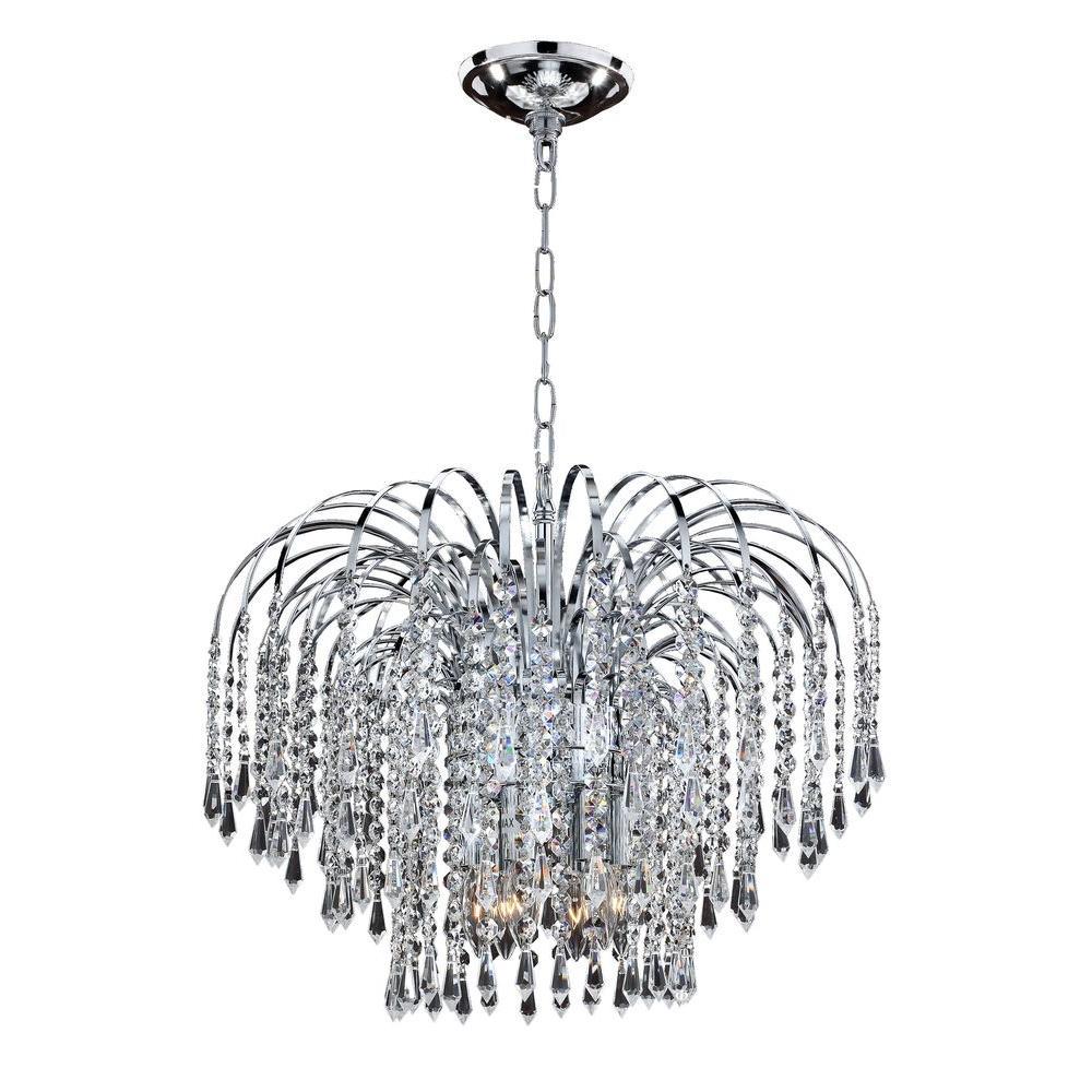 Glow Lighting Veranda 6-Light Traditional Silver Pearl Incandescent Pendant