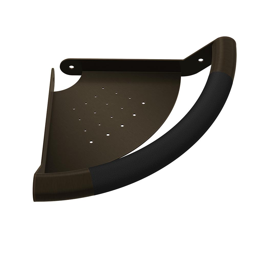 PULSE Showerspas ErgoCornerBar with Ergonomic Soft Grip and Corner Shelf in Oil Rubbed Bronze