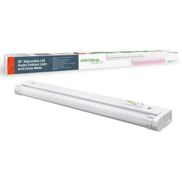 18 in. Plug-in or Direct Wire LED White Under Cabinet Light with Grow Mode Color Selectable Light Output Linkable