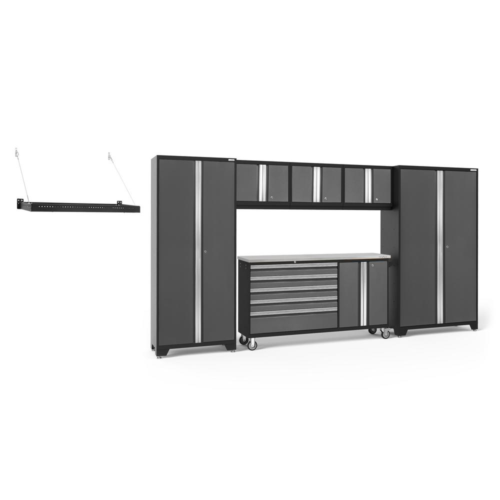 NewAge Products Bold Series 144 in. W x 77.25 in. H x 18 in. D 24-Gauge Welded Steel Garage Cabinet Set in Gray (6-Piece)
