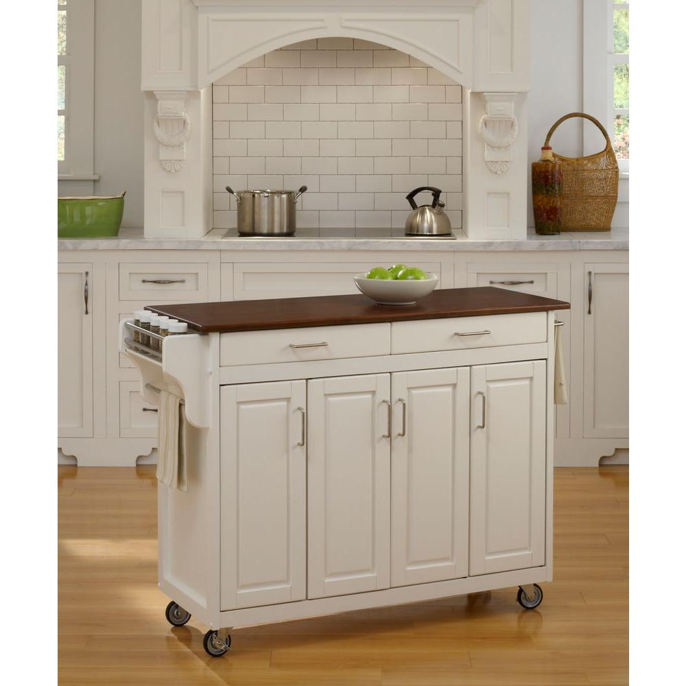 Create-a-Cart White Kitchen Cart With Towel Bar