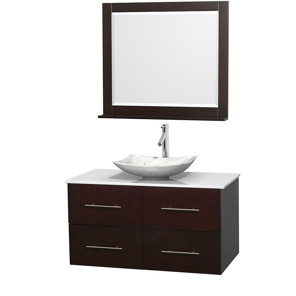 Wyndham Collection Centra 42 in. Vanity in Espresso with Solid-Surface Vanity Top in White, Carrara Marble Sink and 36 in. Mirror