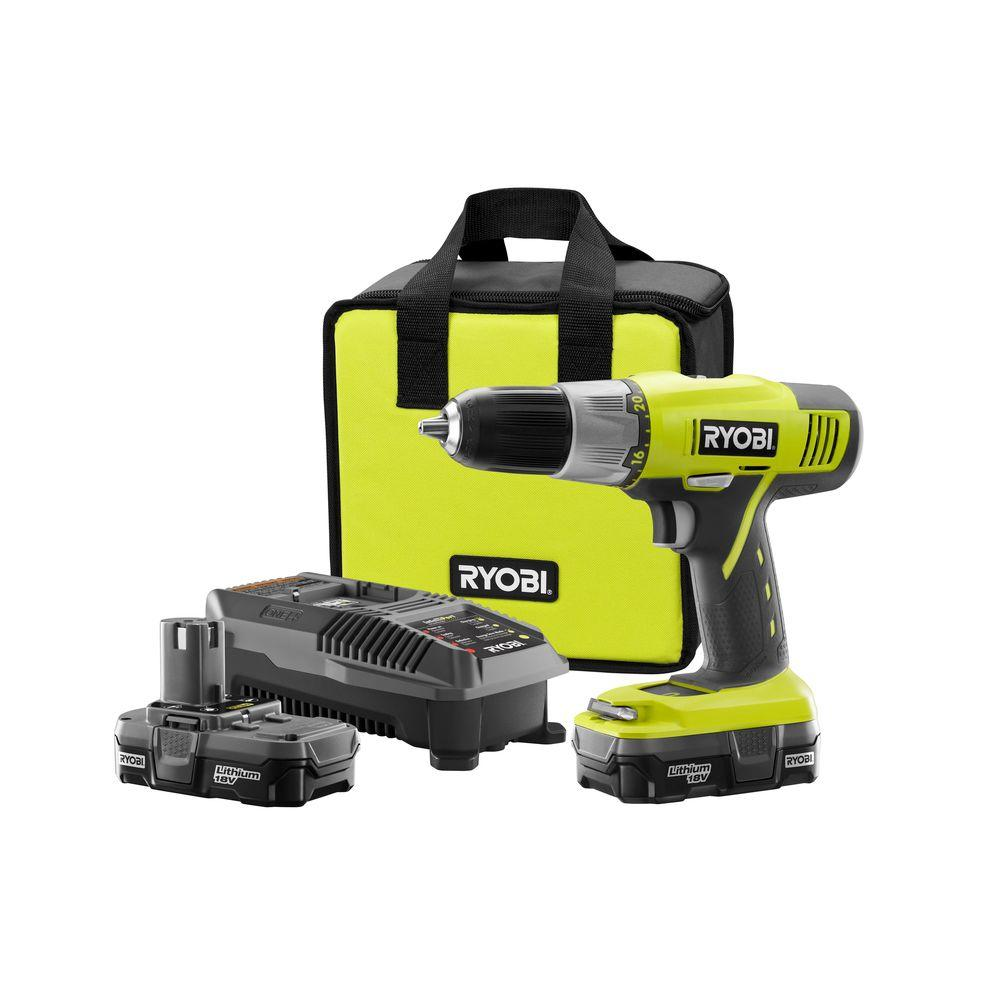 Ryobi 18 Volt One 1 2 In Cordless Lithium Ion Drill Driver Kit With Battery