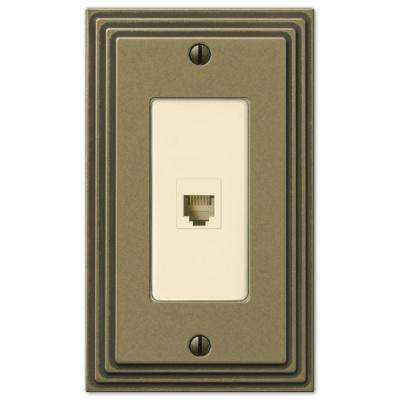 Steps 1 Phone Wall Plate - Rustic Brass