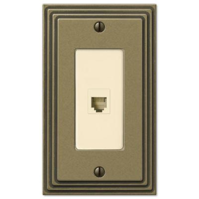 Tiered 1 Gang Phone Metal Wall Plate - Rustic Brass