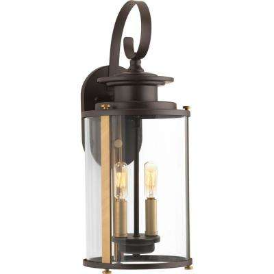 Squire Collection 2 Light Antique Bronze Outdoor Wall Lantern