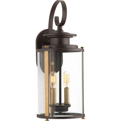 Squire Collection 2-Light Antique Bronze 19.25 in. Outdoor Wall Lantern Sconce