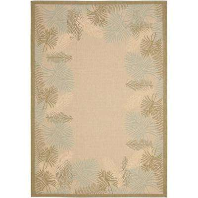 Courtyard Cream/Green 8 ft. x 11 ft. Indoor/Outdoor Area Rug