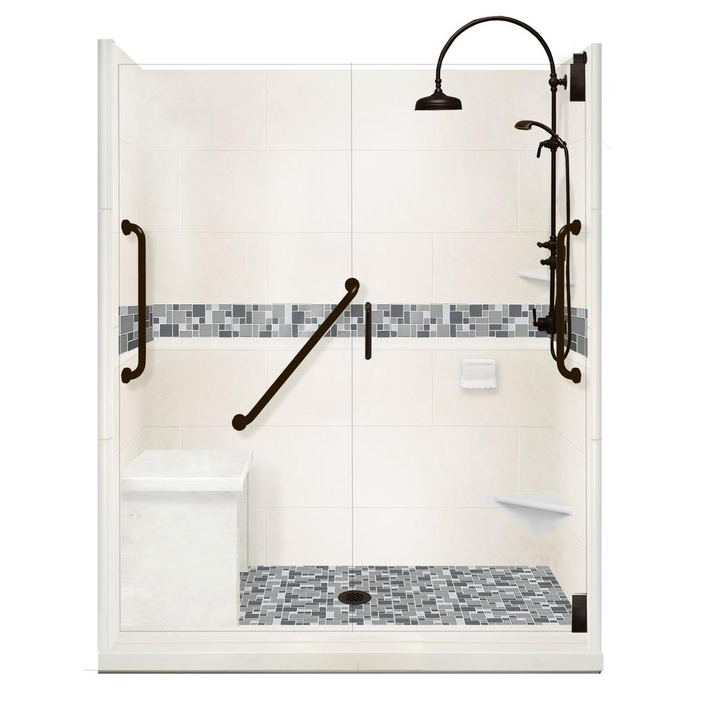 American Bath Factory Newport Freedom Luxe Hinged 42 in. x 60 in. Center Drain Alcove Shower in Natural Buff and Black Pipe Faucet/Hardware
