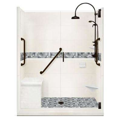 Newport Freedom Luxe Hinged 42 in. x 60 in. Center Drain Alcove Shower in Natural Buff and Black Pipe Faucet/Hardware