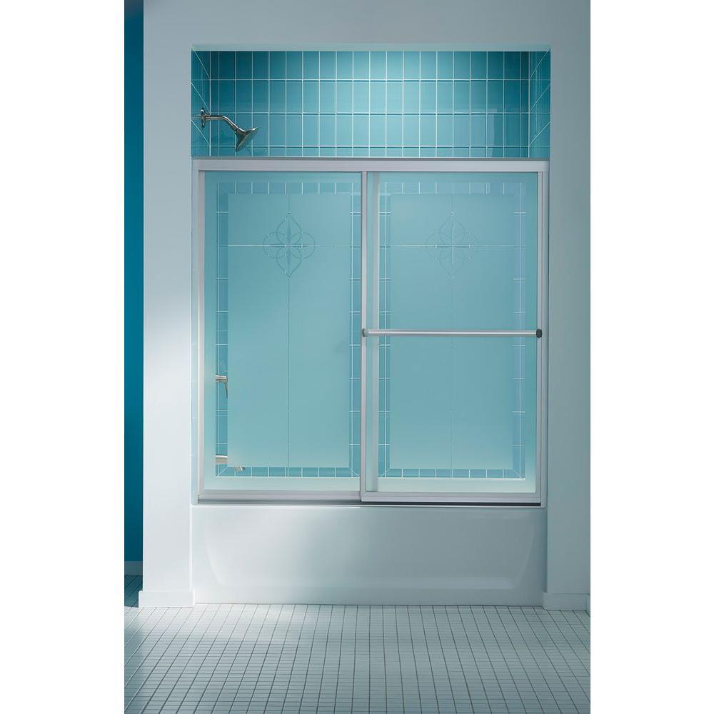 Prevail 59-3/8 in. x 56-3/8 in. Framed Sliding Bathtub Door in Nickel with Handle