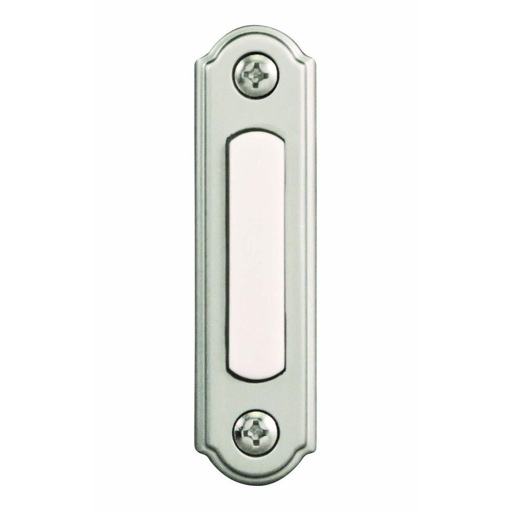 Hampton bay wired lighted door bell push button brushed for Door bell push