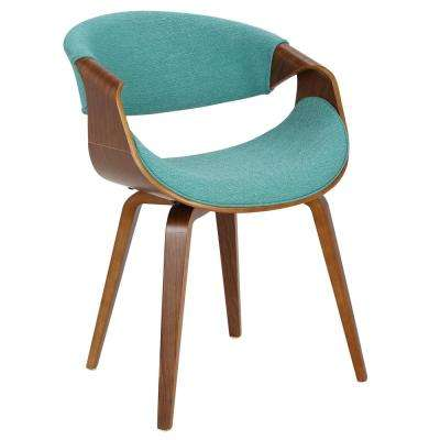 Curvo Bent Wood Walnut and Teal Dining/Accent Chair
