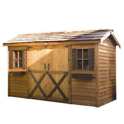 Longhouse 12 ft. x 6 ft. Western Red Cedar Garden Shed
