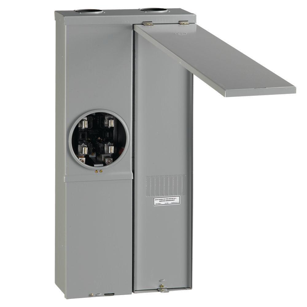 200 Amp 4-Space Ring Type Meter Socket Load Center Semi Flush Mount