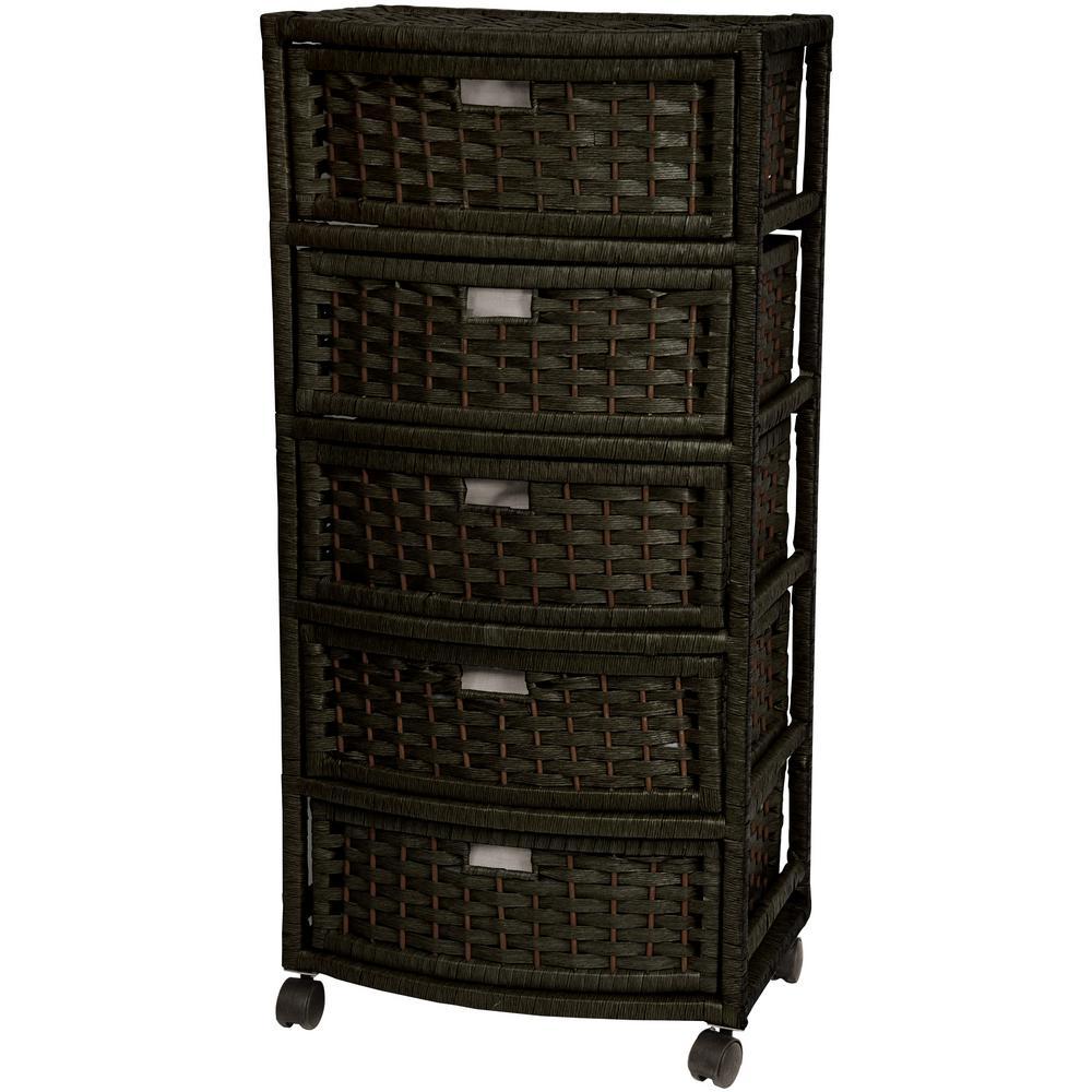 Oriental Furniture 5-Drawer Black Natural Fiber Trunk JH09-051-5-BLK